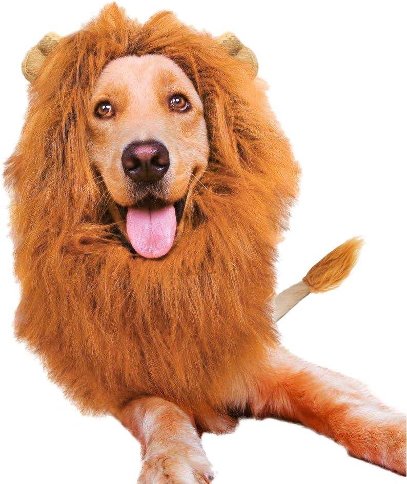 Peluca de melena de le/ón ajustable para mascotas con orejas para perro