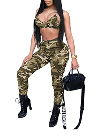 1af71f562182 Amazon.com  Remelon Womens Sleeveless Bodycon Camo Print Halter Crop Top Long  Pants Set 2 Piece Outfit Jumpsuits  Clothing