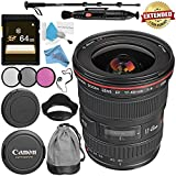 Canon EF 17-40mm f/4L USM Lens 8806A002 + 77mm 3 Piece Filter Kit + 64GB SDXC Card + Lens Pen Cleaner + Fibercloth + Lens Capkeeper + Deluxe 70 Monopod + Deluxe Cleaning Kit Bundle