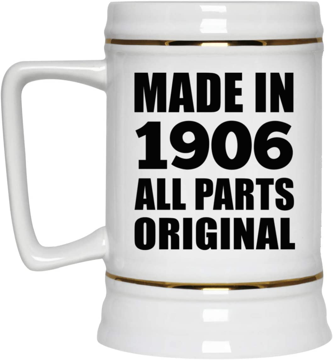 114th Birthday Made in 1906 All Parts Original - 22oz Beer Stein Ceramic Bar Mug Tankard High Quality - Gift for Friend Kid Daughter Son Grand-Dad Mom Jarra de Cerveza, de Cerámica - Regalo para Cu