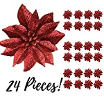 BANBERRY-DESIGNS-Artificial-Poinsettia-Flowers-Set-of-24-3–Red-Glittered-Poinsettia-Clip-On-Ornaments-Christmas-Decorations-Decorative-Floral-Accessories