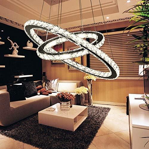 Edler moderner Kristallleuchter LED-Hängelampenring Kronleuchter K9 Kristalldeckenleuchte(70X50-ZX)