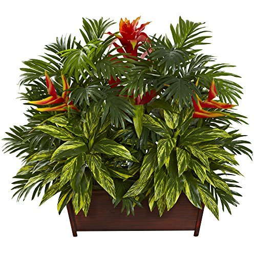 Nearly Natural 6833 Tropical Garden with Wood Planter