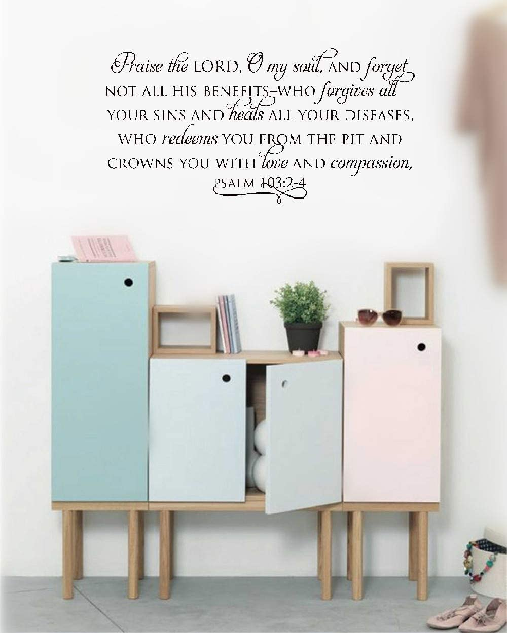 Wall Stickers Inspiring Quotes Home Art Decor Decal Mural Praise The Lord, O My Soul - Psalm 103:2-4 for Kids Nursery Bedroom Living Room