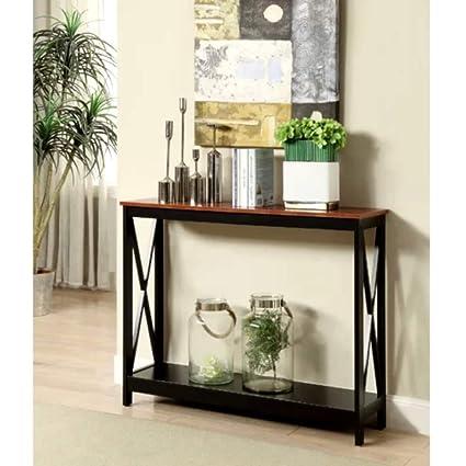 Amazon.com: Very Narrow Console Table Wood Shelf Cherry X-Shaped 4 ...