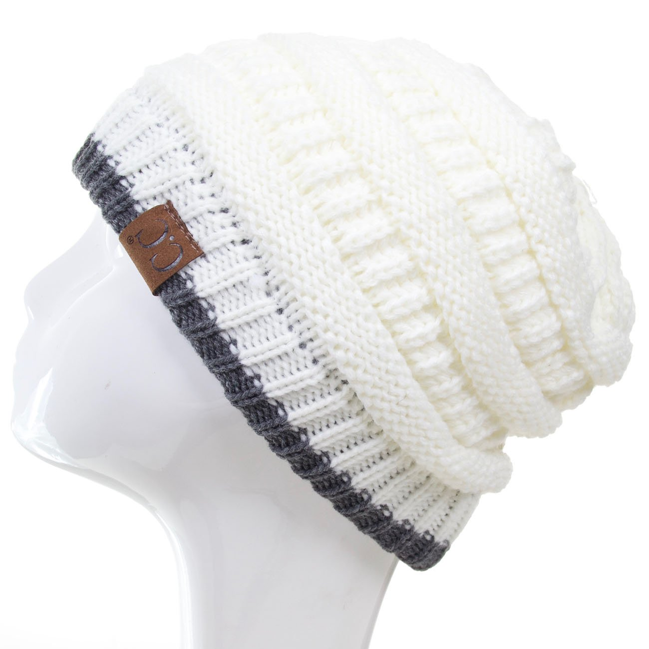 ScarvesMe Two Tone Soft Stretch Cable Knit Cuff Beanie