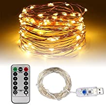 USB String Lights, Umiwe 33ft 100 LED Fairy Light Waterproof Starry Light with Remote Control and Timing Function for Christmas Birthday Wedding Party Patio Celebration and Decoration (Warm White)