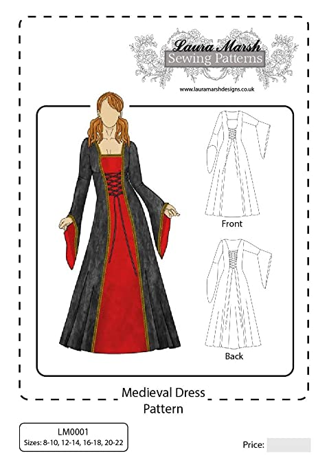 Medieval Dress Sewing Pattern, Sizes 8-22, LM0001, Laura Marsh ...