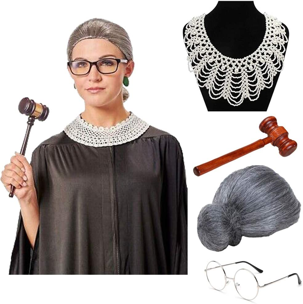 Glasses For Halloween Cosplay Party Favors Grey Granny Wig Ruth Ginsburg Style Dissent Judge Collar 4pcs Women RGB Costume Judge Wooden Gavel