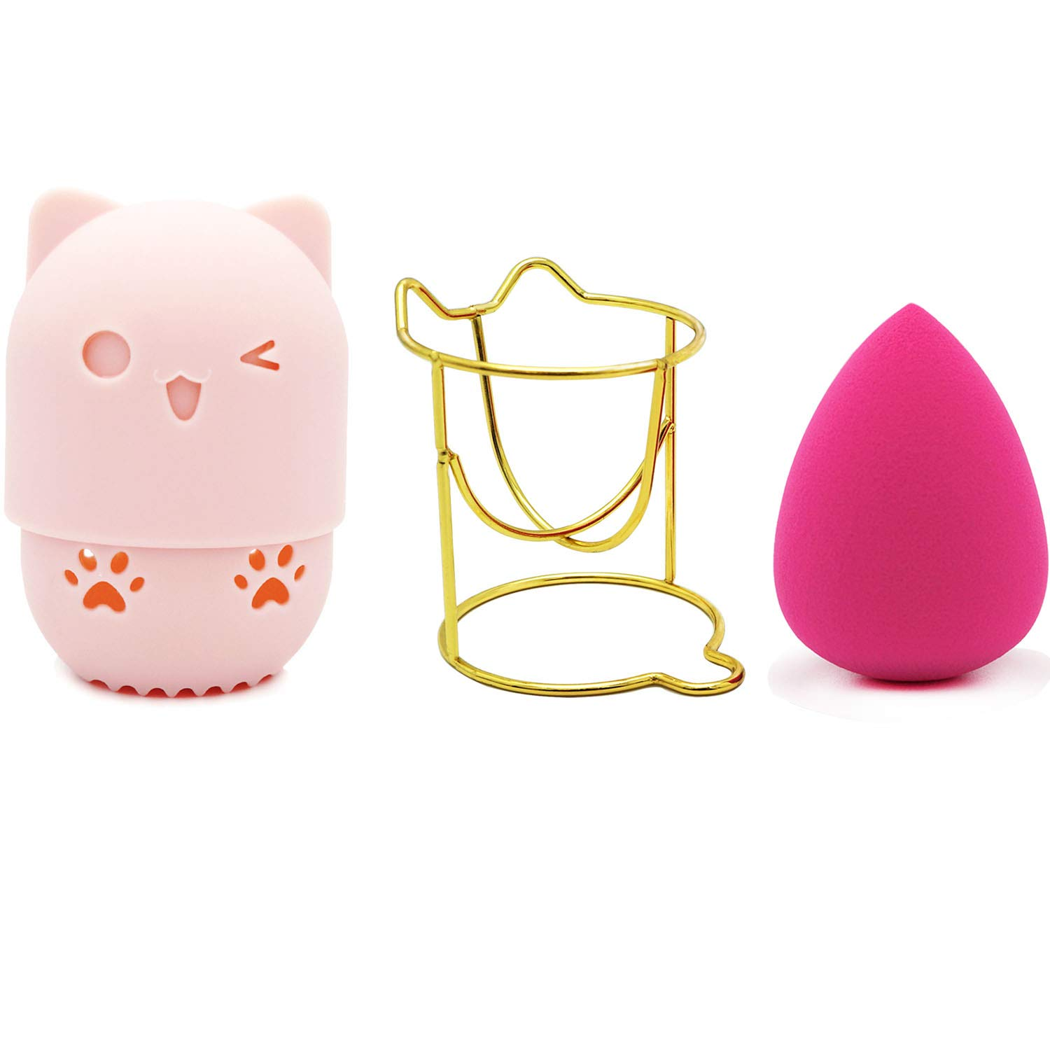 LOVCHU Latex-free Professional Makeup Sponge Set Blender Beauty Foundation Blending Sponge with Cute Pink Cat Travel Partner + Golden Drying Holder - Perfect for Liquid, Cream, Concealer and Powder