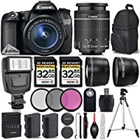 Canon EOS 70D DSLR Camera + Canon 18-55mm IS STM Lens + Flash + 0.43X Wide Angle Lens + 2.2x Telephoto Lens + 2 Of 32GB Class 10 Memory Card + 3PC Filter Kit (UV-CPL-FLD) - International Version