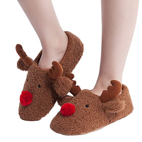 Womens Fuzzy Knit Christmas House Slippers Ladies Cute Bedroom Indoor Winter Slipper With Pom Pom
