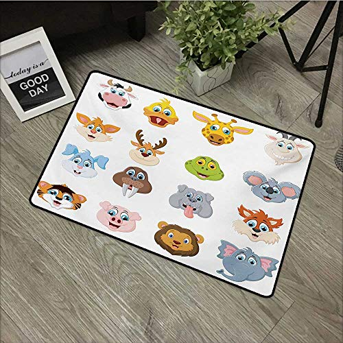 Bedroom Door mat W16 x L24 INCH Cartoon,Comic Design of Collection of Smiling Animal Faces Visages Koala Fox Pi Caricature Art,Multi Natural dye Printing to Protect Your Baby's Skin Non-Slip - Revitalize Collection