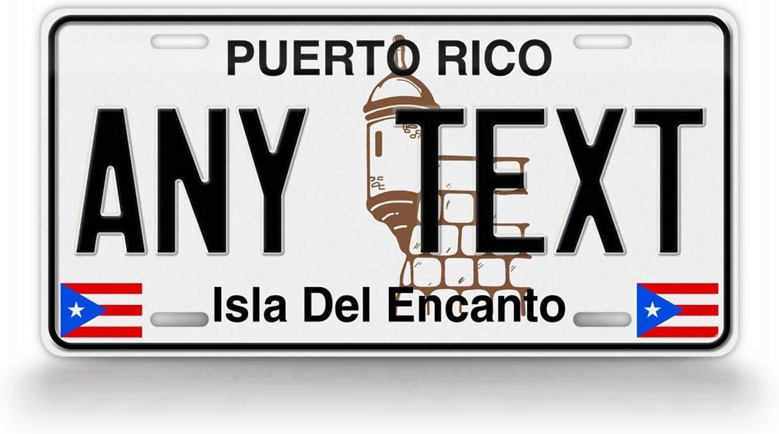 SignsAndTagsOnline Personalized Puerto Rico Classic License Plate PR Replica Custom Text Isla Del Encanto Auto Tag
