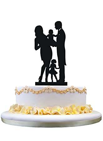Bride and Groom Silhouette Wedding Cake Toppers , Family Wedding ...