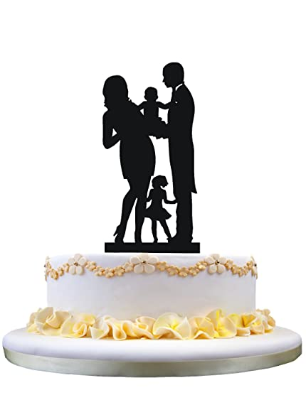 Amazon.com: Bride and Groom Silhouette Wedding Cake Toppers , Family ...