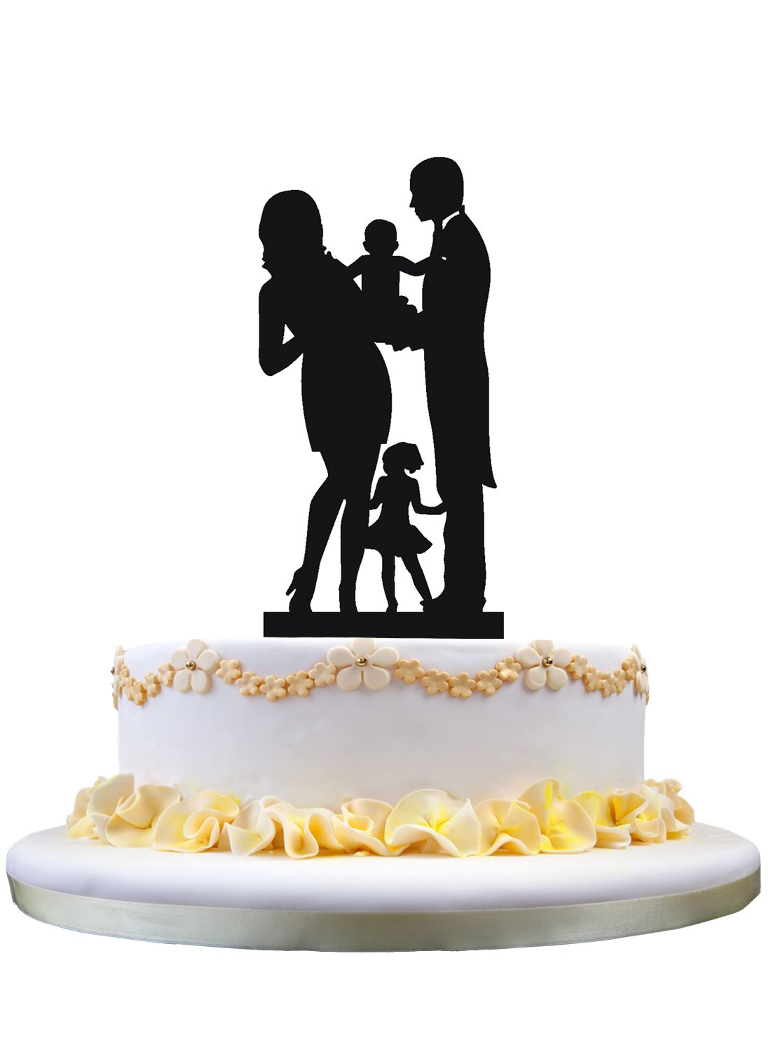 Bride and Groom Silhouette Wedding Cake Toppers , Family Wedding Cake Topper with a baby and a girl
