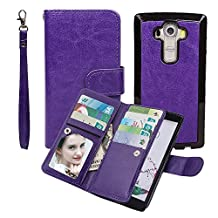 Case for G G4, xhorizon TM SR [Upgraded] 2 in 1 Premium Leather [Wallet Function][Magnetic Detachable][Magnetic Car Mount Phone Holder Compatible]Folio Cover Case For LG G4 - Purple
