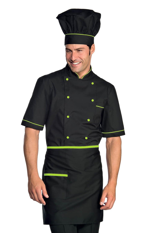 Novaplus Kochjacke Bäckerjacke Kochbekleidung schwarz grün mit Kochjackenknöpfe kurzarm 056926