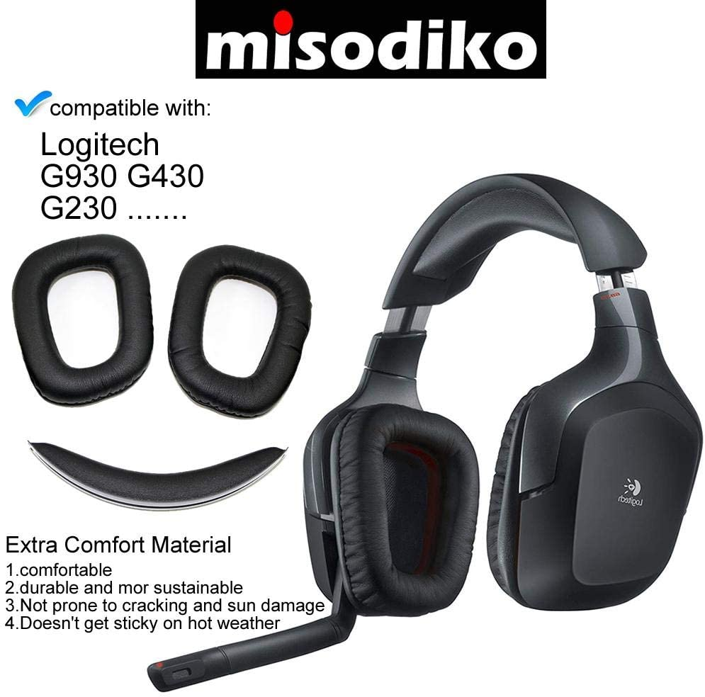 misodiko Replacement Ear Cushions and Headband Pads Headphones Repair Parts Earmuff Earpads Cup Pillow Cover Headbands for Logitech G930 G430 G230 Wired//Wireless Gaming Headset Red-Black