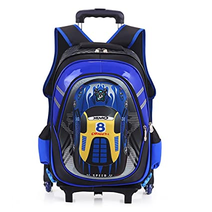 HCC& 3D Car Rolling Backpack, Multifunction School Backpack With Wheels, Waterproof 6 Wheels Kids