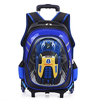 HCC& 3D Coche Rolling Backpack, Multifunción Mochila Escolar con Ruedas, Impermeable 6 Ruedas Mochila