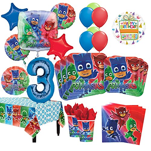 PJ Masks 3rd Birthday Party Supplies 16 Guest Kit and Balloon Bouquet Decorations 96pc by Mayflower Products
