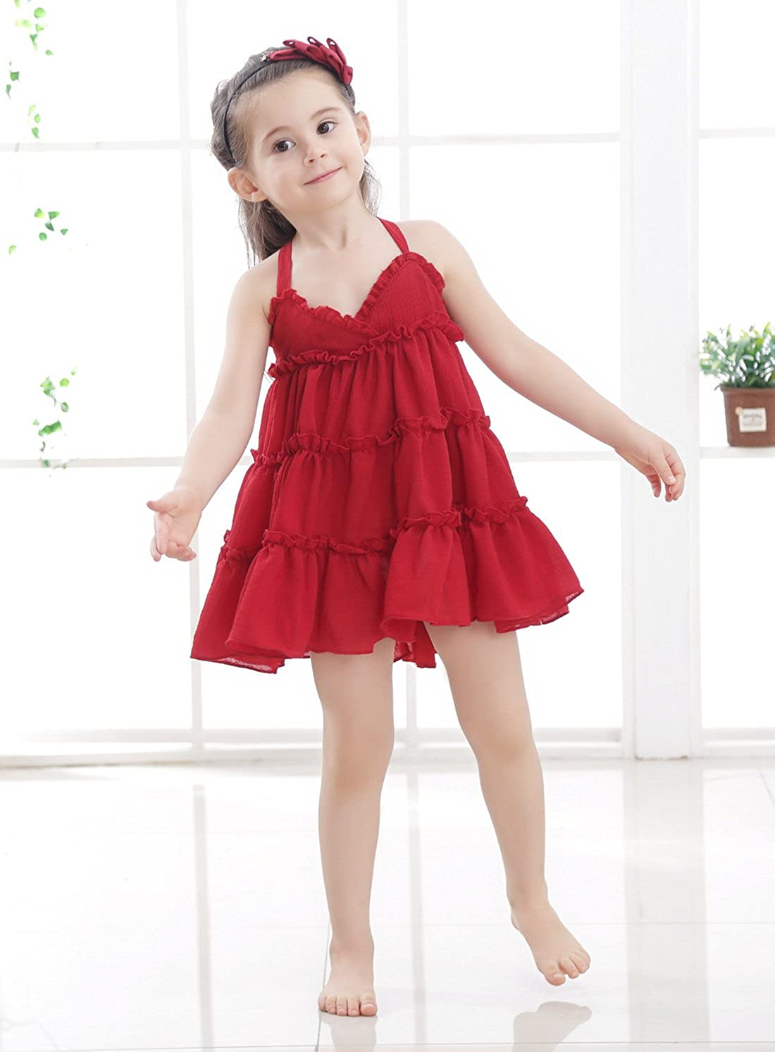 Happy Cherry Little Girls Princess Casual Slip Dress Cute Layered Cupcake Style Cotton Skirt