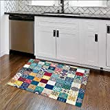 Soft Microfiber Shag Bath Rug mVintage Building Islamic Housing Historic Exterior cade Mosaic Weather-Proof and Mold W34''xH21''