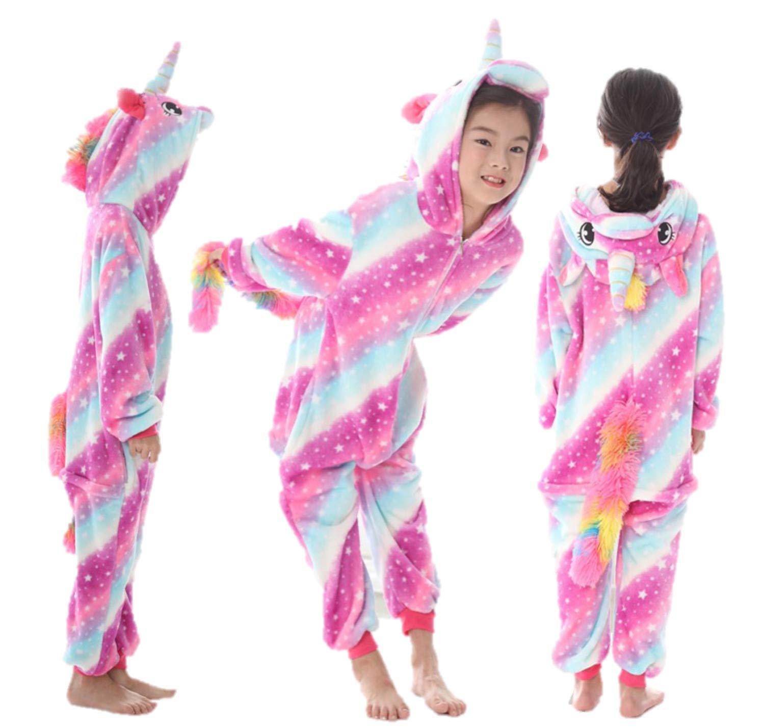 stella arcobaleno blu viola bianco Unicorn Panda Cat renna giraffa mucca corno bambini Onesie ragazze costume loungewear loungewear ragazze bambini (6 - 8 anni, Turbinii rosa e blu con stelle) Ecommerce Trade Ltd