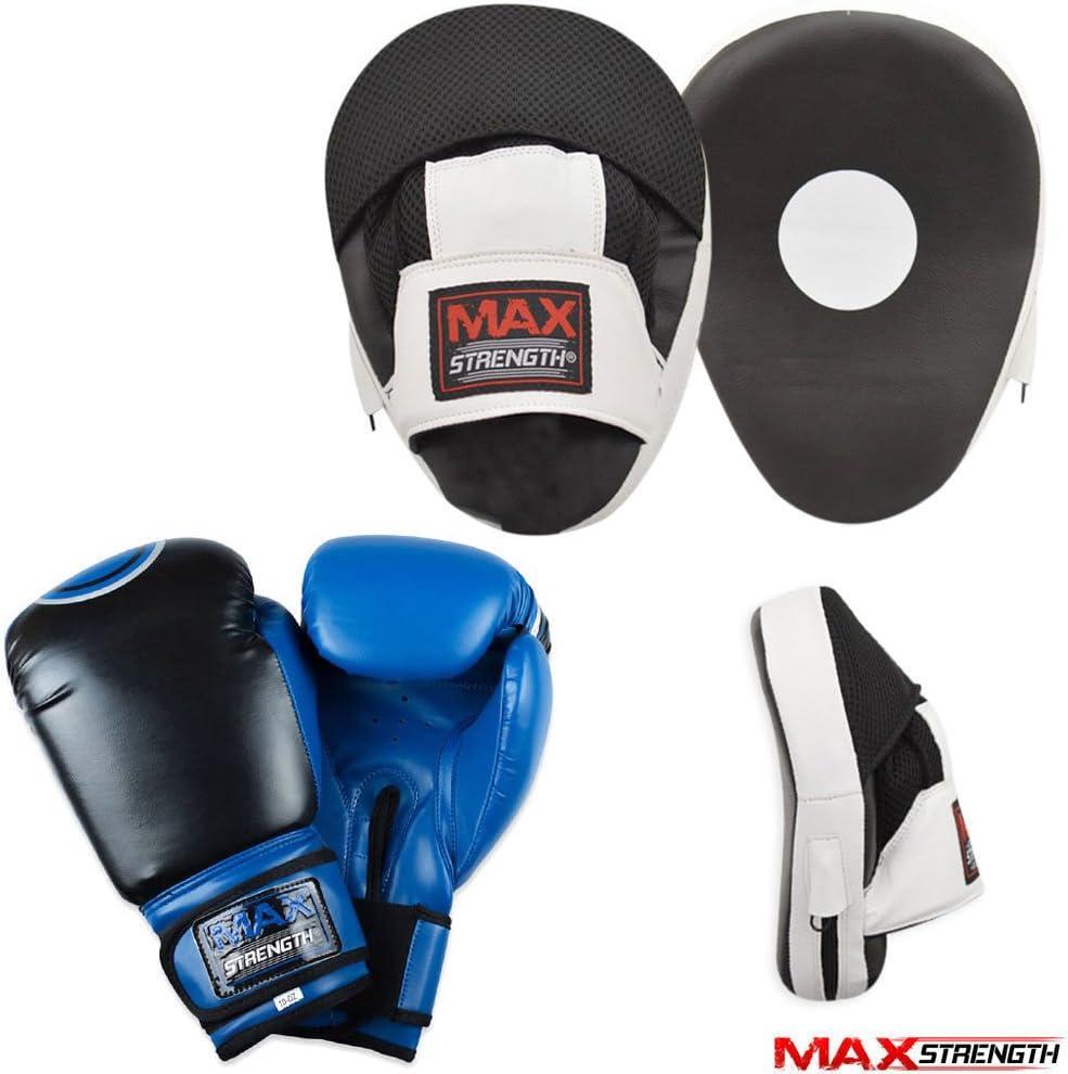 Max Strength Focus Pads Jab /& Hook Boxing Sparring Punching Gloves MMA Mitts Set Black /& Orange, 10oz