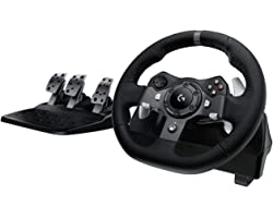 Logitech G920 Driving Force Racing Wheel and Floor Pedals, Real Force Feedback, Stainless Steel Paddle Shifters, Leather Stee