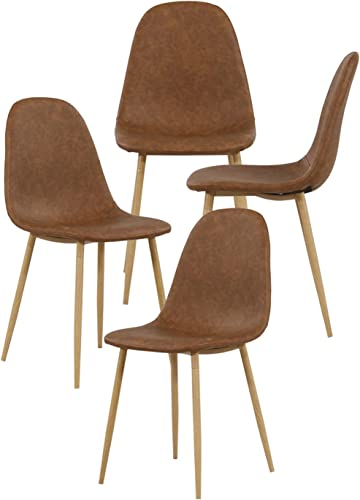 OGEFER Upholstered Dining Chairs Leather Set of 4 Mid Century Modern Chairs Living Room Chair Side Chair