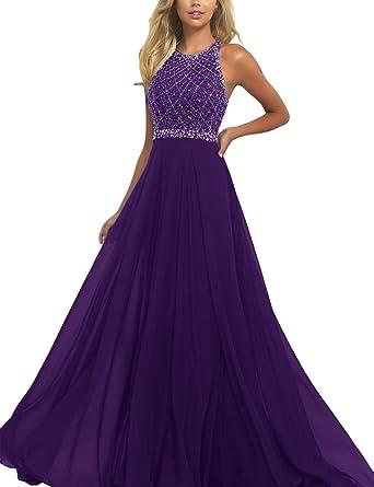 Amazon.com: SeasonMall Women\'s Prom Dresses A Line Halter Open Back ...
