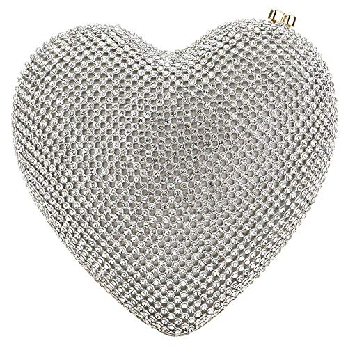 Evening Clutch Bag, Fit Wit Sequined Bead Heart Shape Cocktail Wedding Party Purse (Silver)