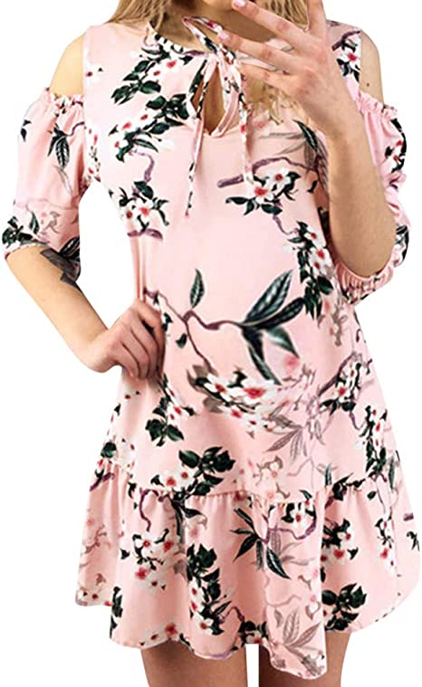 Iusun Womens Maternity Dress Ruffles Short Sleeve Sundress Nursing Baby Breastfeeding Pregnants for Summer Daily Vacation Holiday
