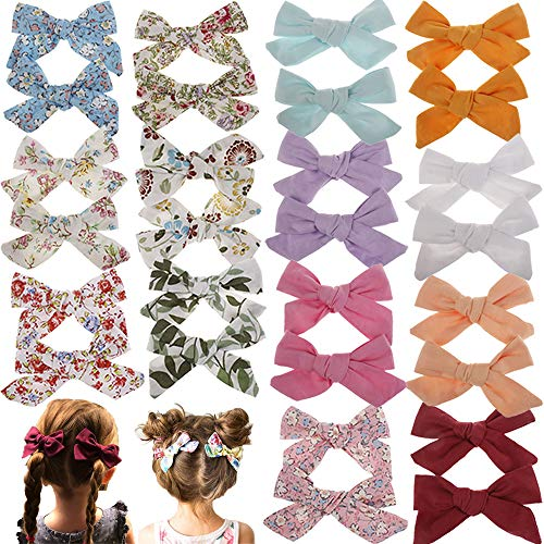 (Baby Girl Hair Bow Set Spring Floral Print Bows Headbands Clip Alligator Hair Clips for Toddlers Kids (Multicoloured ASXM1427) )