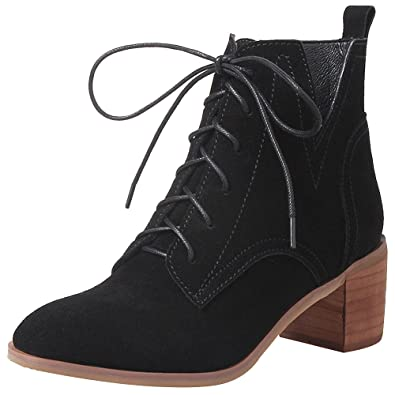dd0fe4b6b268 Jamron Women s Upscale Genuine Nubuck Leather Mid Block Heel Ankle Boots  Elegant Lace Up Western Derby