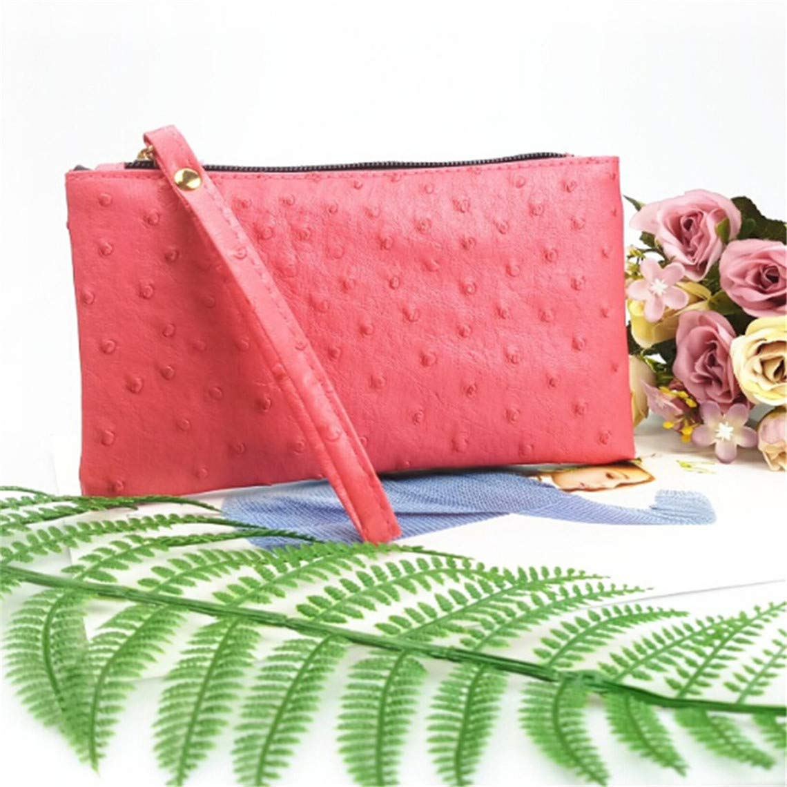 Rurah Ostrich Pattern Long Purse Key Coin Handbags Women Phone Bag Clutch Wristlet Zippers Organizer Wedding Party Evening Dress Bag,Red by Rurah (Image #2)