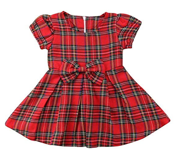 SWNONE Baby Girls Skirt Set Plaid Flannel Bowknot Tutu Skirts Christmas Clothes Set