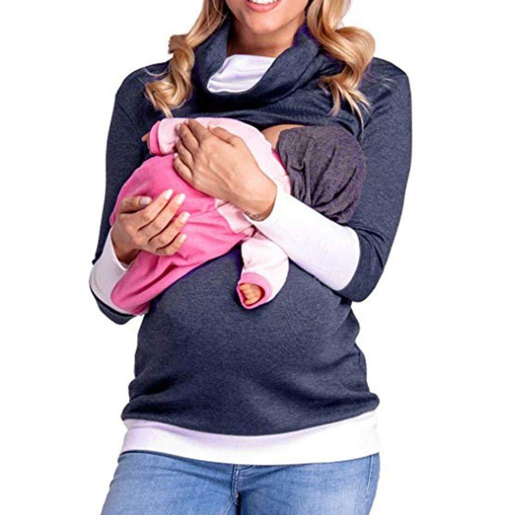 ❤️ Blouse de Maternité, Solike Femme T-Shirt Chic Tops à Manches Longues Couche Double Enceinte Grossesse Tops de maternité Hauts Pullover de Allaitement Sweats