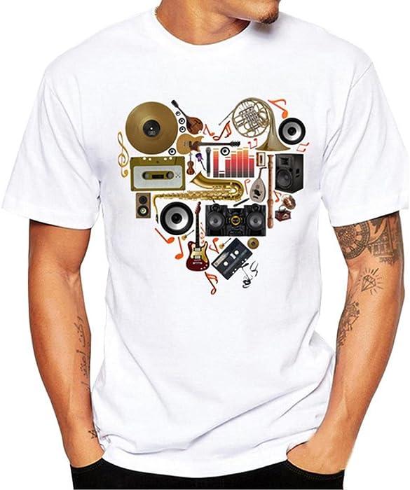 Camiseta para Hombre, ❤️Xinantime Hombres Que Imprimen la Camisa de Las Tees Blusa de Manga Corta Blanco