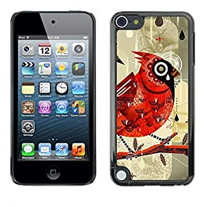 rígido protector delgado Shell Prima Delgada Casa Carcasa Funda Case Bandera Cover Armor para Apple iPod Touch 5 /Bird Drawing Watercolor Rain/ STRONG