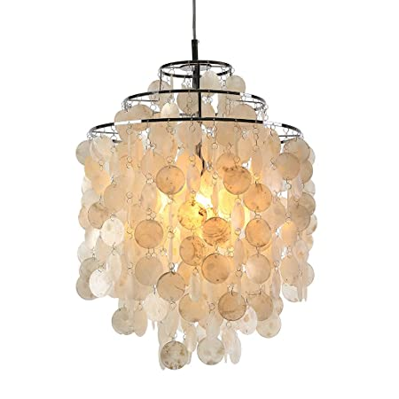 Homelava ceiling lights modern shell piece chandelier white shell pendant lights lamp with 1 light