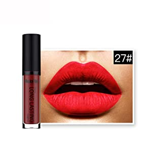 lip gloss,BeautyVan Women Fashion Waterproof Matte Liquid Lipstick Long Lasting Lip Gloss Lipstick (J)