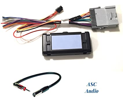 asc audio premuim car stereo radio wire harness and antenna adapter for  some gm chevrolet 03-06 silverado, tahoe, suburban, sierra etc