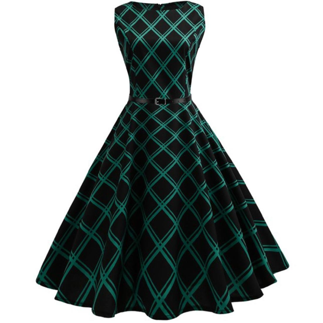 Mini Dress,Fashion Womens Dress Sleeveless Vintage Bodycon Plaid Casual O-Neck Evening Party Dress (L, Green)