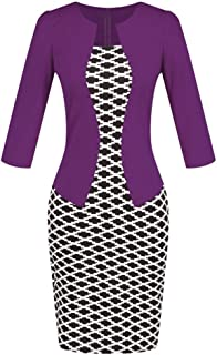 Birdfly Office Women's Plaid Patchwork Pencil Skirts Formal Working Dress with Short Sleeve US Size Under 17 Dollar