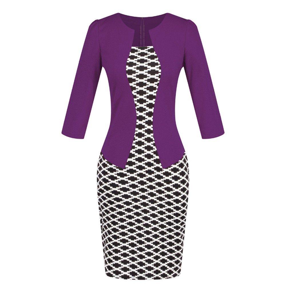 Nmch Women Colorblock Plaid Patchwork 3/4 Sleeve Midi Dress Work Business Bodycon One-Piece Dresses with Belt 2019 New(Purple-B,XL)