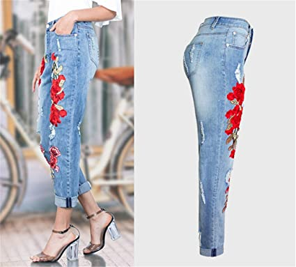 Z-BAIBAO Scuffs 3D Flores Bordadas Agujero Pantalones ...